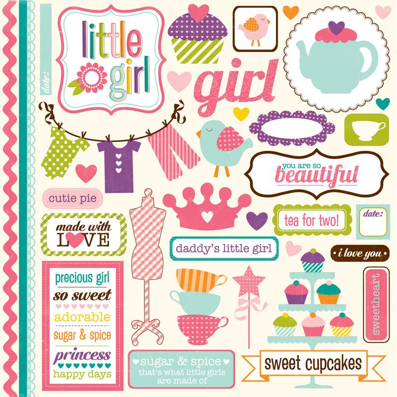 Little girl element stickers